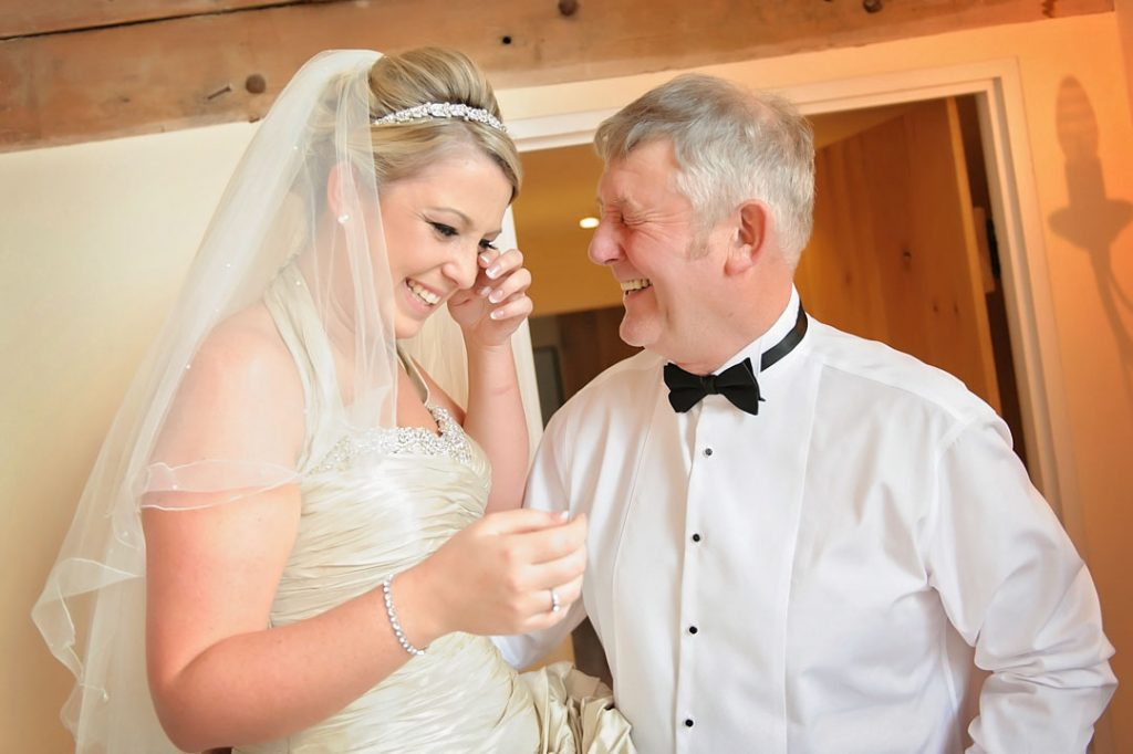 bride tearful with father