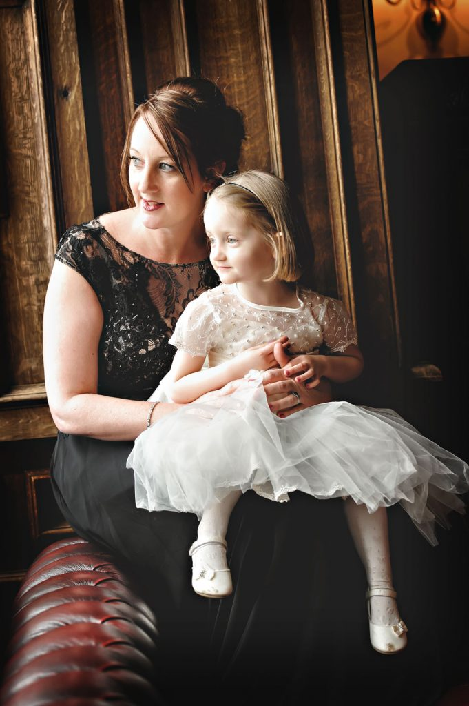 flower girl and mum at stoke Rockford hall
