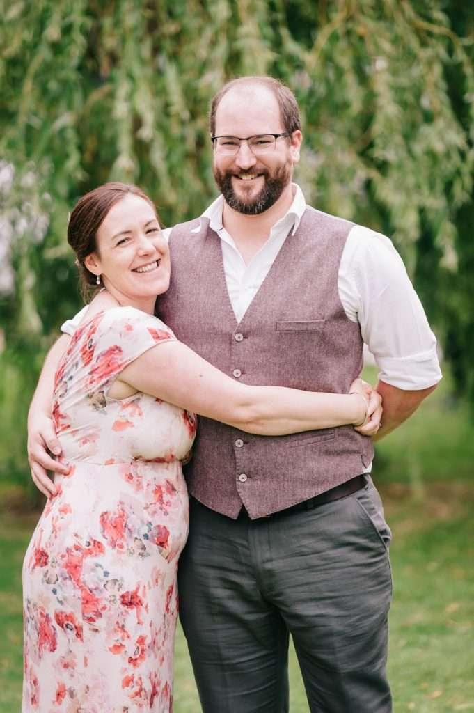 male and female hug